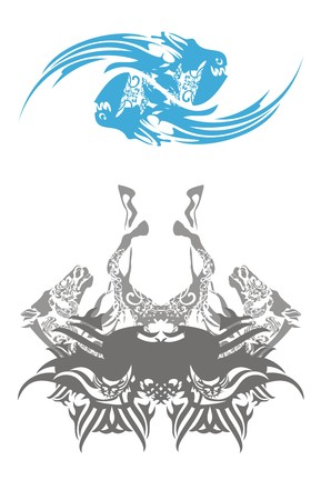 Two ornate fishes and horse butterfly