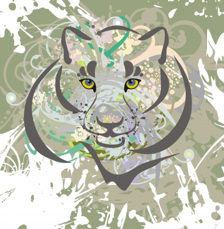 Wild cat on a grunge background Illustration