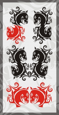 Symbols of the horse head  Red and black options on a gray background Illustration