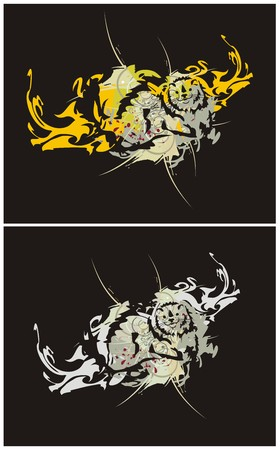 Polecat in a jump with floral elements and splashes on a black background - two options Illustration