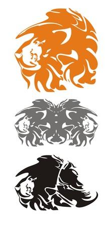 three headed: Tribal lion heads Illustration