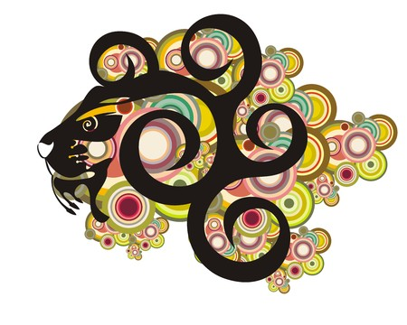 twirled:  Lion head with circles