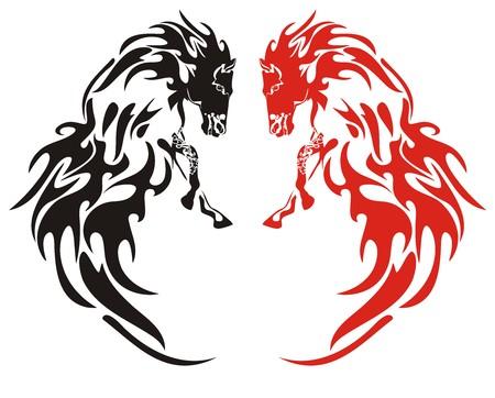 flammes: Flaming chevaux noir et rouge sur le blanc Illustration