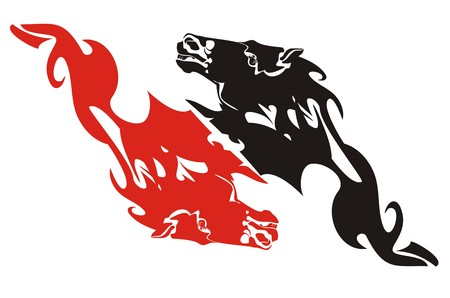 Red and black flaming horse heads - a double sign