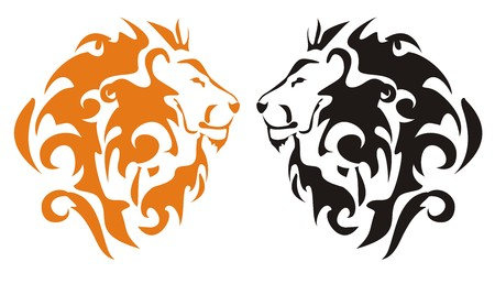 engrave: Tribal lion heads, vector
