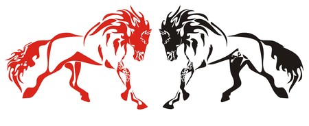 Red and black running horses on the white Vector