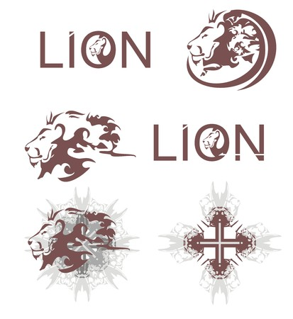 Lions heads, lions cross, lions text