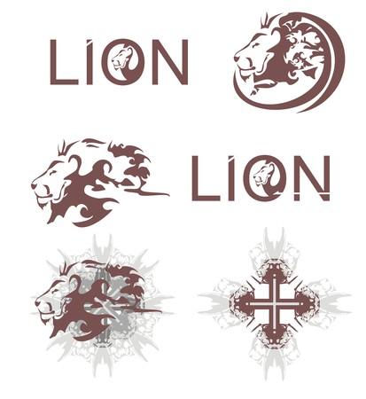 Lions heads, lions cross, lions text Vektorové ilustrace