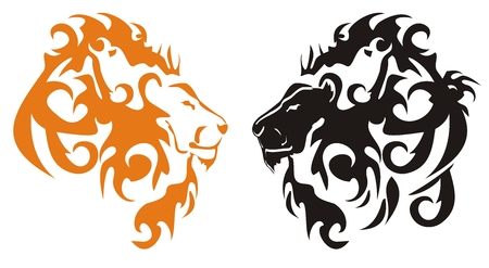 Black and orange tribal lions heads Vector