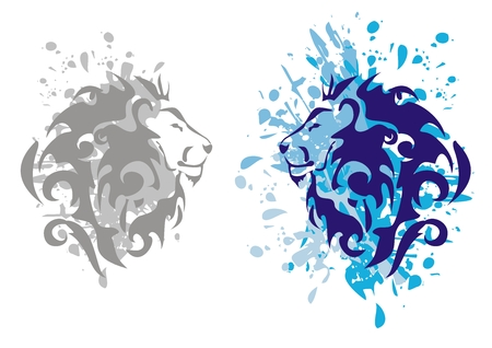 Lions heads with splashes