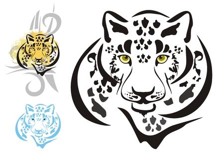 snow leopard: Tribal leopards heads Illustration