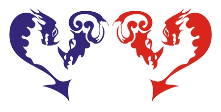 Red and blue dragons hearts