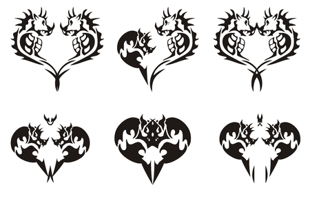 Black tribal dragons hearts Vector