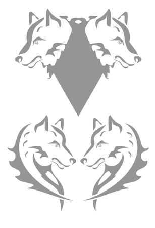 Tie from the wolf heads and wolf heart Vector