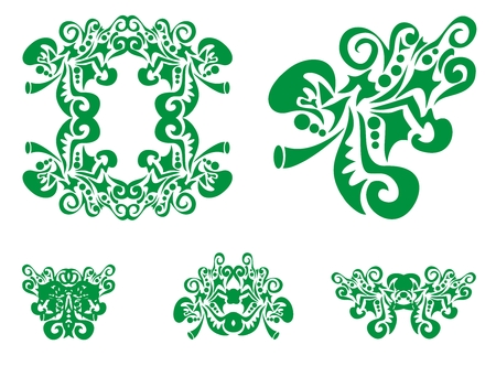 Green oak leaf and decorative elements