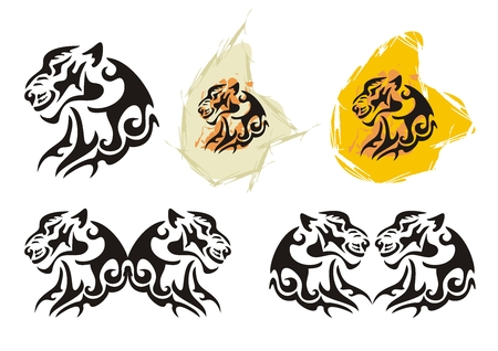Tiger head symbols in tribal style
