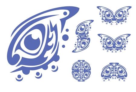 twirled: Simbolo blu degli occhi e gli elementi da esso in stile tribale Vettoriali