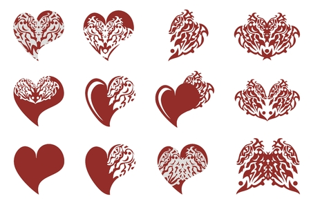 Ornate dragon wing and dragons hearts Vector