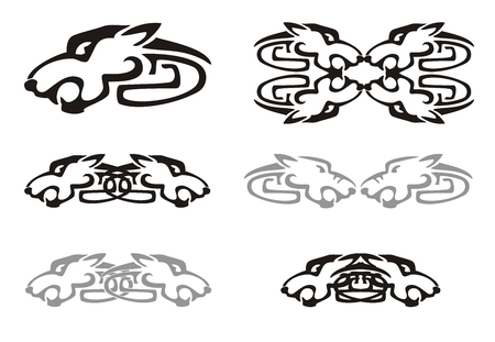 Tribal wolf head and wolves elements Illustration