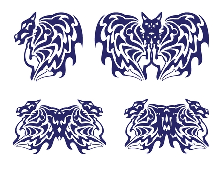 Wing of a horse, a bat and a butterfly with the horse heads