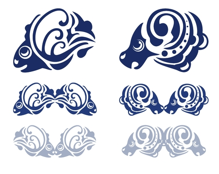 fish form: Blue water splashes in the form of fish and a ram