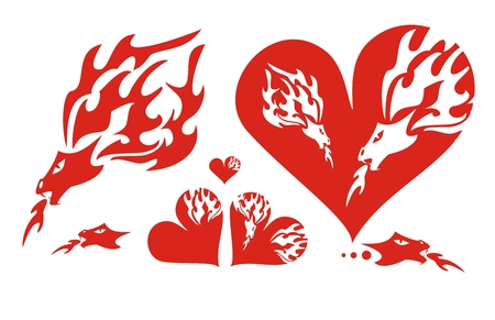 Red hearts of a dragon and a flaming dragon