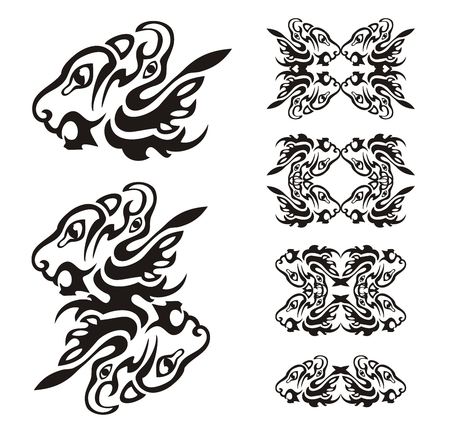 Predator head formed by two elements  head of a lion and eagle Vector