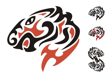 Tribal tiger head  Black and red on the white