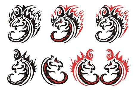 Tribal flaming cats symbols