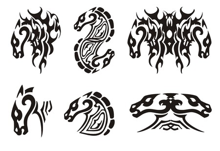 Tribal horse head  Black on the white Illustration