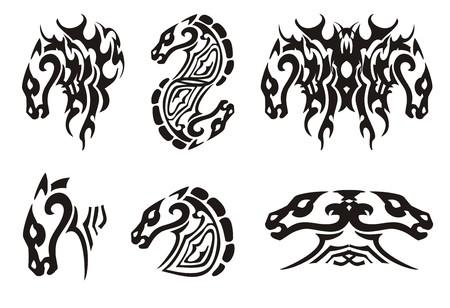 trembling: Tribal horse head  Black on the white Illustration