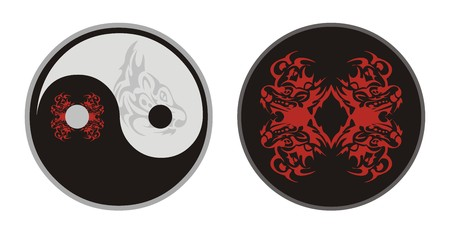 Yin Yang symbol and a circle with the heads of tigers