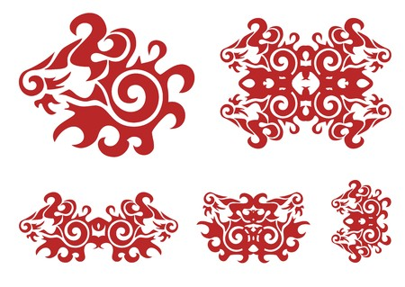 twirled: Leone rosso della testa e del leone elementi decorati girava Vettoriali