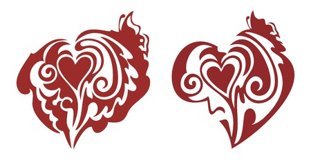 abstract Red hearts with a butterfly Vector
