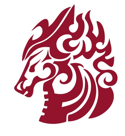 Flaming horse head in tribal style  Red on the white