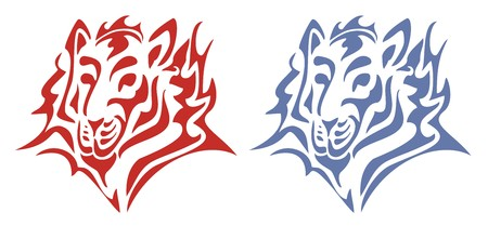 Tribal tiger head  Red and blue on the white Illustration
