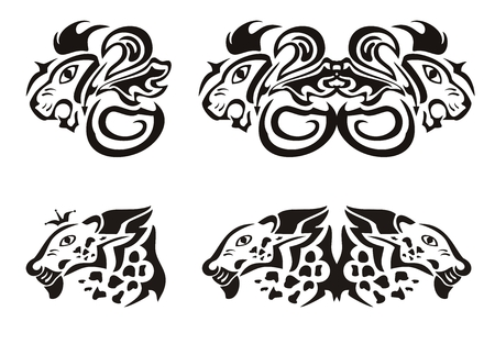Lion and leopard heads in tribal style Vector