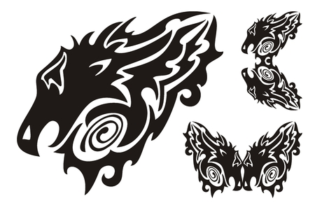 twirled: Tribal dragon head and twirled dragons symbols