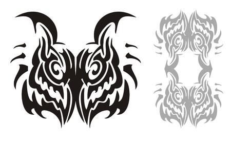 horned: Tribal horned owl head and owl frame Illustration