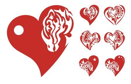 twirled: Cuori rossi icone