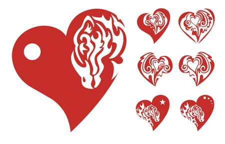 Red hearts icons Vector