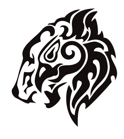 Tribal lion head formed by the head of an eagle Vector
