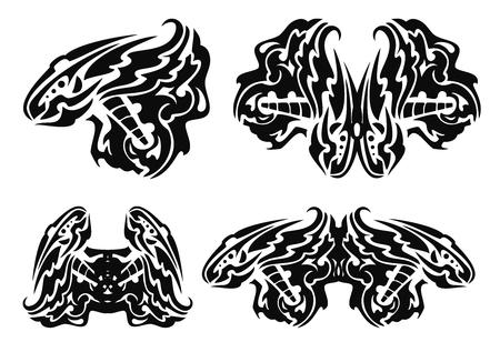 trembling: Tribal black wings elements Illustration