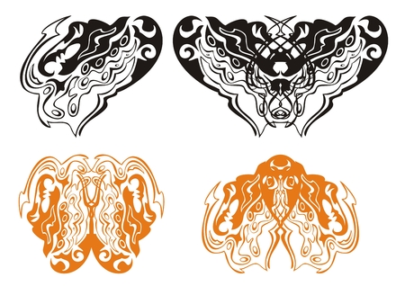 Heart of a dragon and dragon butterfly Vector