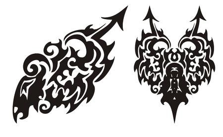 Tribal black dragon with an arrow and dragon heart Vector