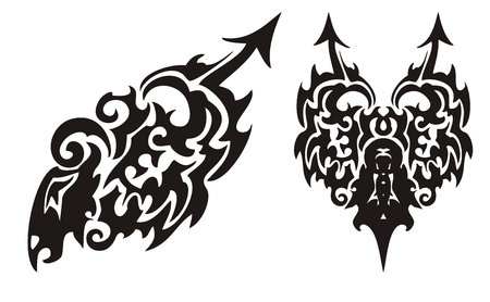 twirled: Tribal black dragon with an arrow and dragon heart Illustration