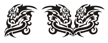 twirled: Tribal testa di drago roteata e il cuore di un drago Vettoriali