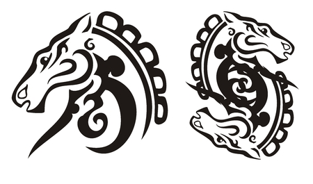 Tribal black horse and double horse sing Vector