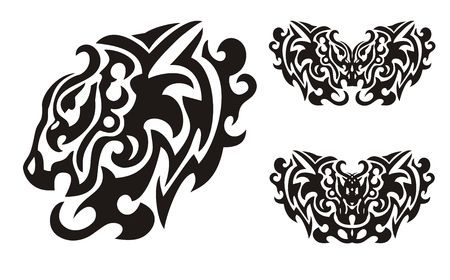 Tribal lion head and symbols of butterflies formed by the eagle head Vector