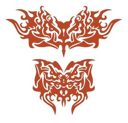 twirled: Farfalle fiammeggianti tribali formati dalla testa d'aquila